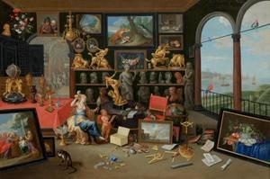 Het interieur van een kunstkabinet met een allegorie op het Gezicht