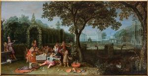 Allegorie van de vijf zintuigen: Elegant gezelschap in een tuin