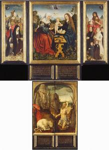 Portret van Dirck van Heemskerck van Beest (....-1545) met zijn zonen en de H. Johannes de Doper (links), de H. Anna-te-Drieën (midden), Portret van Geertruid van Diemen (....-....) met haar dochter en de H. Maria Magdalena (rechts)