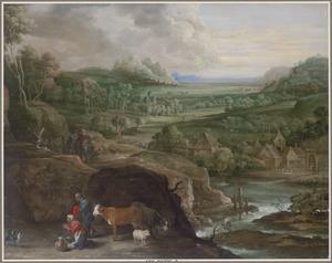 Weids landschap met herders, rechts een dorp