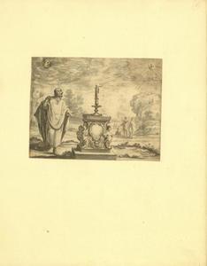 Staande man bij een brandende kaars op een piëdestal