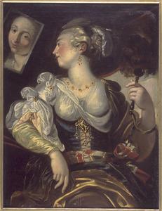 De vijf zintuigen:: jonge vrouw voor de spiegel, allegorie op het gezicht