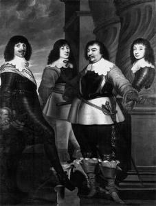 Groepsportret van Willem van Nassau-Siegen (1592-1642) met zijn broers Willem Otto (1607-1641) en Christiaan (1616-1664) en zijn zoon Maurits Frederik (1621-1638)