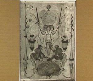 Groteske decoratie met amors, apen en kariatide