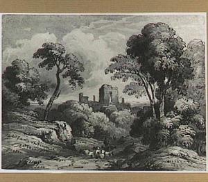 Boomrijk heuvellandschap met ruïne