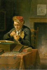 Geleerde in zijn studeerkamer bij het slijpen van zijn ganzeneveer