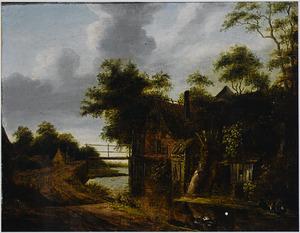 Landschap met een boerderij aan een sloot