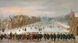Gezicht op de Hofvijver in Den Haag vanaf de Korte Vijverberg, met op de voorgrond de prinsen Maurits en Frederik Hendrik met gevolg