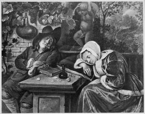 Slapend paar aan een stenen tafel