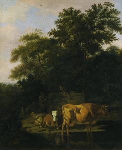 Landschap met twee herders, koeien en schapen bij een watertje