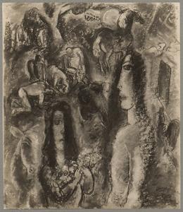 Compositie met twee vrouwen, boeren en vee