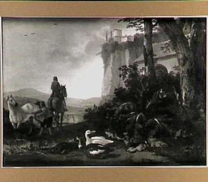Italianiserend landschap met twee ruiters; op de voorgrond enkele eenden