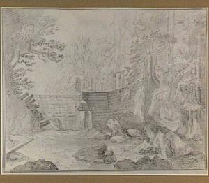 Boomrijk landschap met houten dam