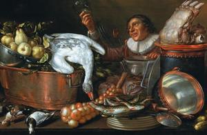 Keukenstilleven met man die een roemer omhoog houdt