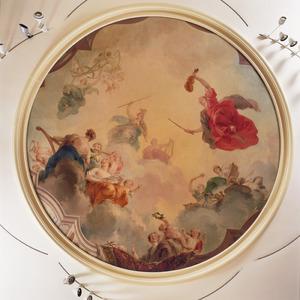 Apollo tronend op de wolken met Minerva en de negen muzen