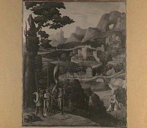 Pratende heilige soldaten (?) en twee bisschoppen in een berglandschap bij een stad met een kasteel