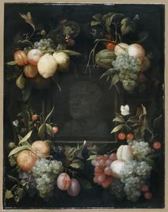 Vruchten rond een gebeeldhouwde buste van Seneca in een nis