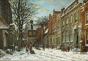 Capriccio gezicht van Leiden in de winter