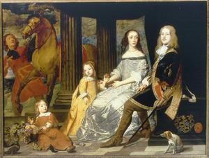 Familieportret van Philip van de Werve (?-?), Isabelle-Françoise Charles (?-?) en hun kinderen, met een bediende