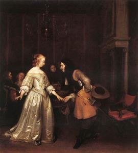 Interieur met een elegant gezelschap en een dansend paar