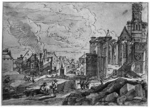 De Sint-Niklaaskerk te Brussel na het bombardement van 1695