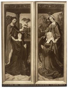 De H. Johannes de Doper met stichter (links); De H. Catharina met stichtster (rechts)