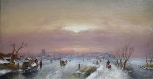 Wintergezicht met  schaatsers, een stad in de achtergrond