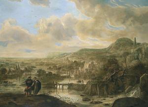 Weids landschap met de verstoting van Hagar (Genesis 21:9-21)