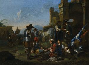 Rustende soldaten bij een ruïne in een italianiserend landschap