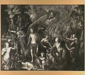 De geboorte van Venus met op de achtergrond Neptunus, Amphitrite en hun gevolg in de branding