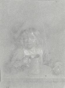 Kind aan een tafel met een appel en een beker in de handen