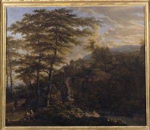 Zuidelijk berglandschap met waterval en in de achtergrond een kasteel