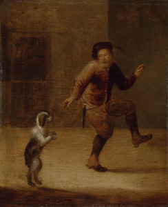 Man dansend met zijn hond