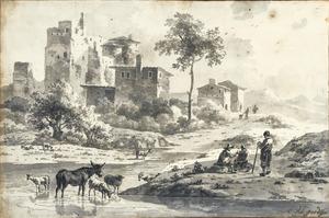 Italiaans landschap met vee en figuren bij een riviertje