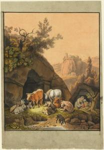 Landschap met herders en vee bij een houten hut