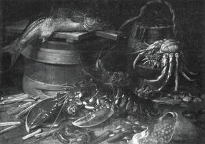 Stilleven met kreeft en vis
