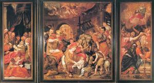De dood van Maria (links), de aanbidding van de herders (midden), de tenhemelopneming van Maria (rechts) en de annunciatie (buitenzijde)