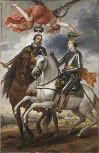 Frederik Hendrik en Maurits als veldheren met in het verschiet de Slag van Vlaanderen