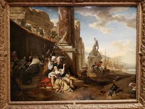 De Verloren Zoon feestend met de courtisanes temidden van klassieke ruïnes, in de verte een mediterrane haven