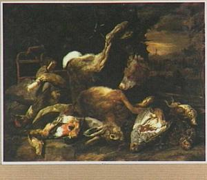 Hond bij buit van zangvogels, patrijzen en haas in een landschap; links een vogelkooi