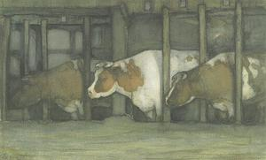 Three cows in a pot stall