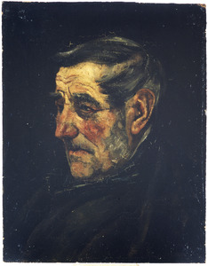 Portret van een oude man met grijze bakkebaarden