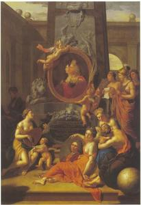 De huldiging der kunsten met de portretten van Johann Wilhelm van de Palts (1658-1716), Anna Maria Luisa de' Medici (1667-1743) en Adriaen van der Werff (1659-1722)