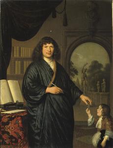 Portret van een onbekende man en een jongen die hem een brief brengt