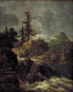Noordelijk bergandschap met waterval en hut
