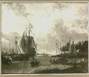 Hollandse haven met rechts in de voorgrond enige zwemmers