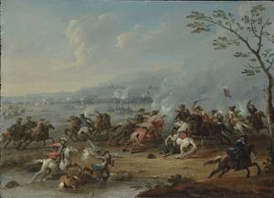 Ruitergevecht in een italianiserend kustlandschap