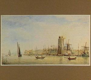 Dordrecht vanaf de Merwede gezien met rechts de Grote Kerk, links op de achtergrond het pakhuis Stockholm