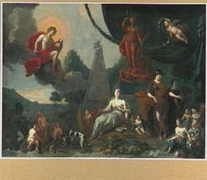 Allegorie met Apollo, Minerva, putti en andere figuren in een landschap