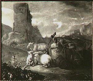 Arcadisch landschap met schapen